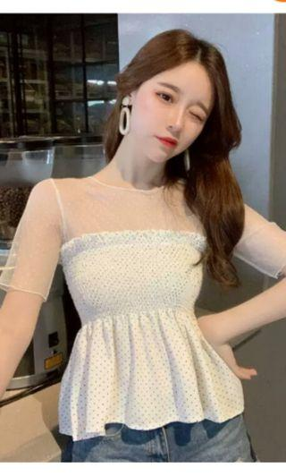 PO 32 Mini Polka Dot Pattern Mesh Layer Short Sleeve Stretchable Chest Summer Shirt Blouse Ulzzang 2 colours black / white