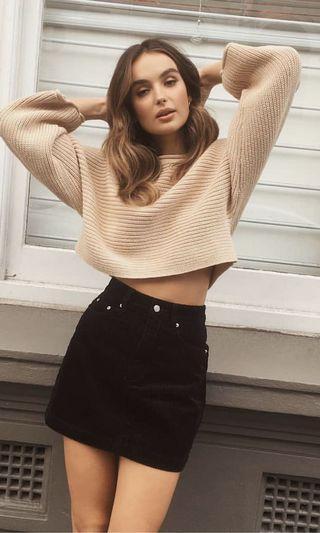 white crop knit jumper