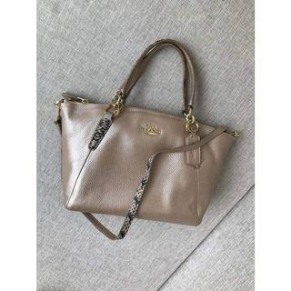 COACH SMALL KELSEY SATCHEL IN METALLIC LEATHER WITH EXOTIC TRIM