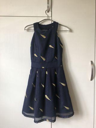 Little blue dress with golden feather