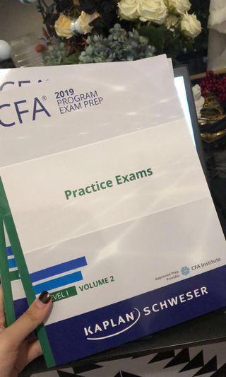 2019 CFA Level 1 Schweser Practice Exam 1&2 全新
