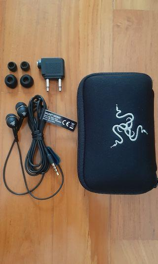 RAZER MORAY In-ear Headphone for Gaming, Music & HP with in Flight Plug Adapter and Pouch