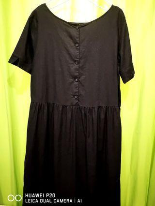 棉麻黑色娃娃裙斯文裙