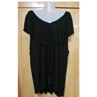 PLUS SIZE 3XL 4XL H&M RUFFLE WIDE NECKLINE TOP