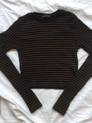 🚚 Brandy BN brown and black stripes santana long sleeve