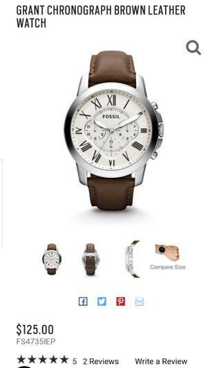 🚚 Fossil GRANT CHRONOGRAPH BROWN LEATHER WATCH