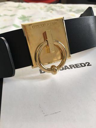 DSQUARED2 Black Leather Ring Belt