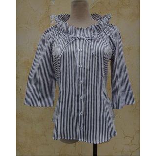 正品 NARA CAMICIE 咖啡條紋 色 七分袖 彈性上衣 Size: 3
