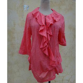 正品 iROO 桃紅色荷葉領 七分袖長版棉上衣 Size: 40
