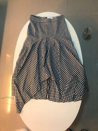 小清新 不規則黑白格子裙