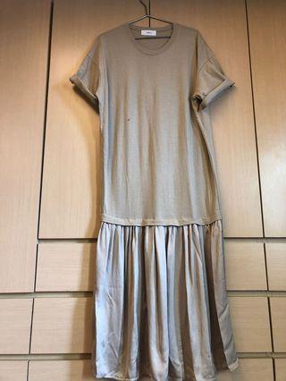 緞面下擺 綿洋裝