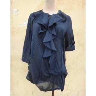 正品 iROO 藍色荷葉領 七分袖長版棉上衣 Size: 40