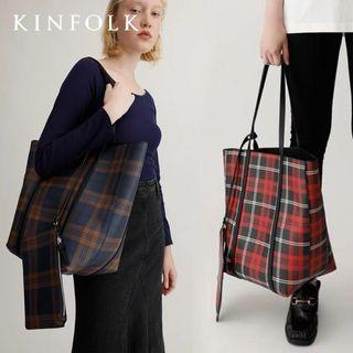 Oxford Checkered Shoulder Bag with Organizer Pouch