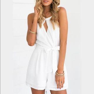 Luvalot white halter jumpsuit
