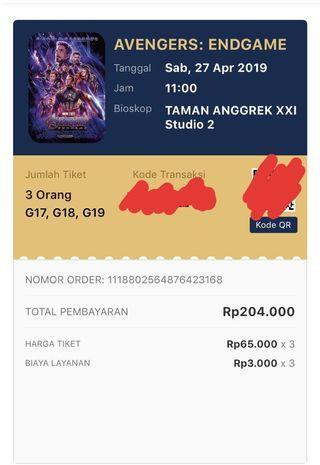 1 Tiket Avengers : End Game (Diskon 15 rb)