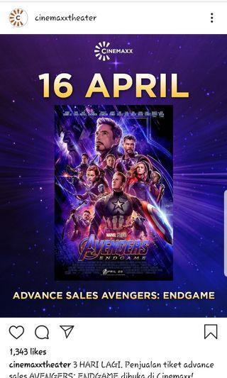 JUAL TIKET AVENGERS END GAME  TANGGAL 25  JAM 18.00  IMAX 2D DI GANCIT SEAT TENGAH E(2 seat) PRICE DM  dijual karna 2 orang gajadi nonton THANKS