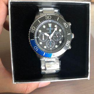 [✅Ramadan Sale!🎉]: ✅💯Authentic Seiko 'Batman' Prospex Chronograph Solar Diver Watch SSC017P1