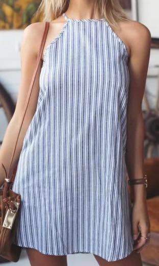Linen stripe halter neck dress