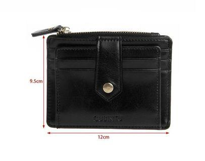 Small Square Leather  Short Zipper Wallet Coin Card Wallet