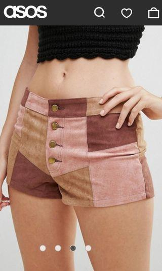 New WYLDR - Faux suede patchwork shorts size L