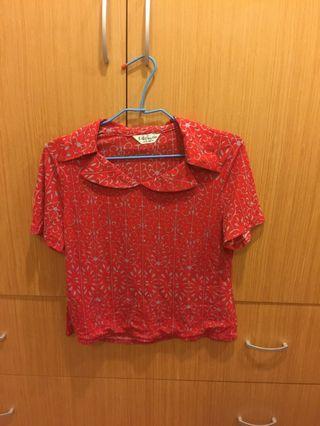 #半價衣服拍賣會 Hera clothes>上衣 短袖 紅色 荷葉領 舒服棉