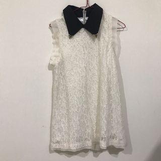 Lace white collar