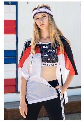 FILA 女裝夏季休閒戶外運動拼色寬鬆輕薄透氣防曬拉鏈連帽短袖外套 順豐包郵