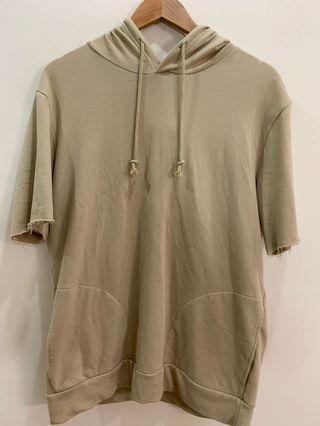 Zara Men's Short Sleeve Hoodie Shirt Beige Cream