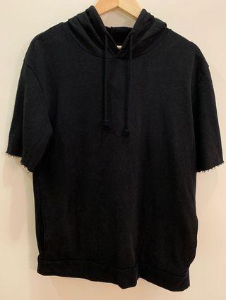 Zara Men's Short Sleeve Hoodie shirt Black