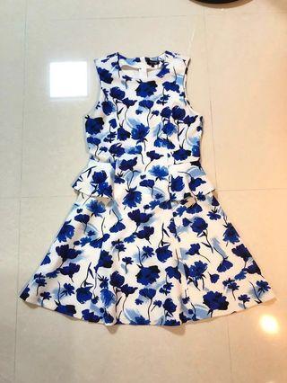 Zalora Blue Floral Peplum Dress
