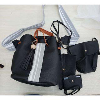 Black PVC 4 in 1 Draw string bomb bag Pouch Sling bag & Card Holder