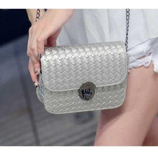 Ladies Silver PVC Sling Bag with Metal Chain