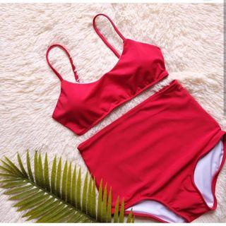 Red High Waist Bikini