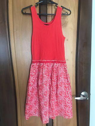 Red-Orange Floral Dress