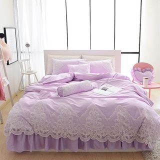🎉 100% Cotton Lace Skirting Bedsheet Set