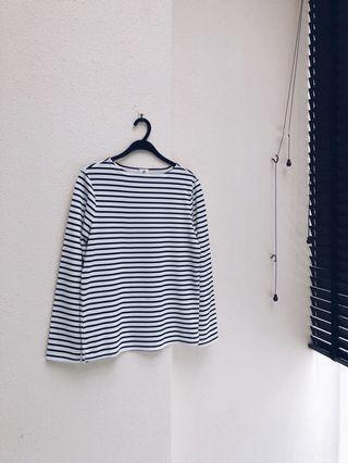 AForArcade Boat Neck Stripe Long Sleeve Top (AFA)