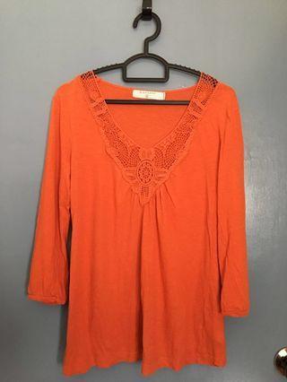 Giordano Orange Blouse