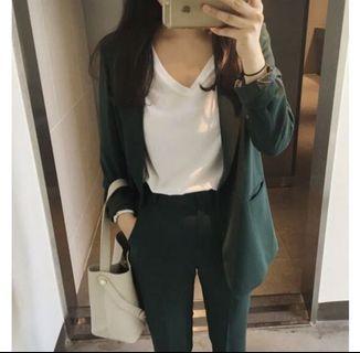 韓版 墨綠色 西裝 套裝 外套