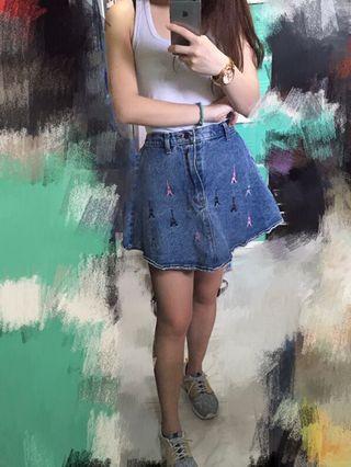 牛仔短裙 A字裙 巴黎鐵塔 休閒 denim skirt