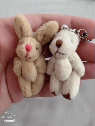 Rabbit & Teddy Bear Keychain