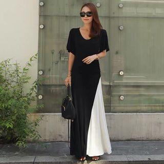 Annabelle Black Long Dress with White Side