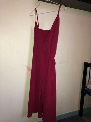 Midi Red wrap dress
