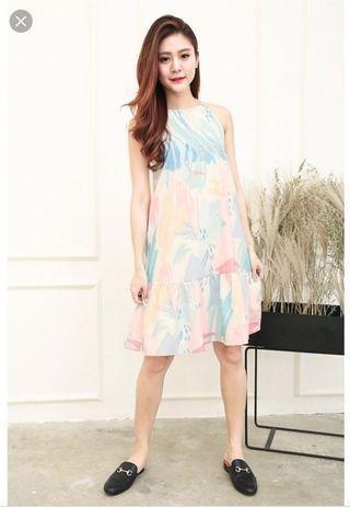 Tasia Abstract Watercolour Ruffles Hem Dress