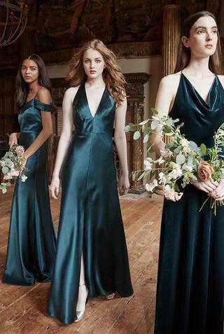 Jenny Yoo Collection Emerald Satin Back Crepe