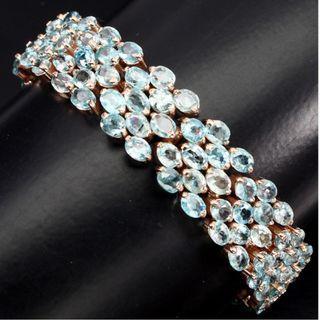 Blue Zircon Genuine Gemstone Bracelet