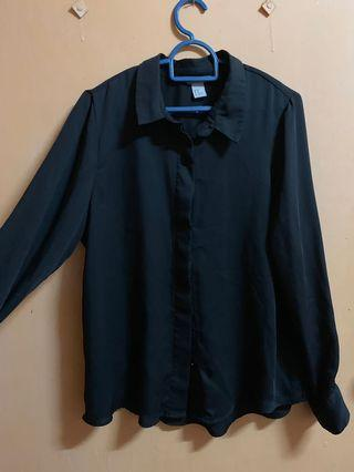 H&M Black Satin Shirt