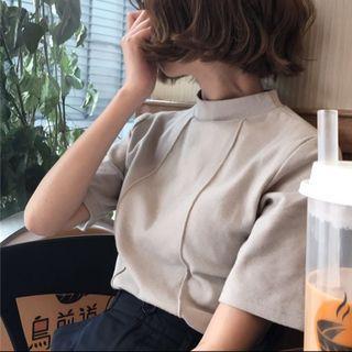 #tb15 khaki beige mock neck top
