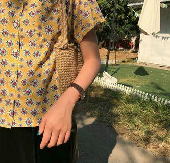 🚚 黃色花花滿版短袖襯衫 夏
