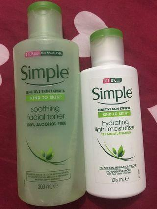 Simple toner and hydrating moisturizer