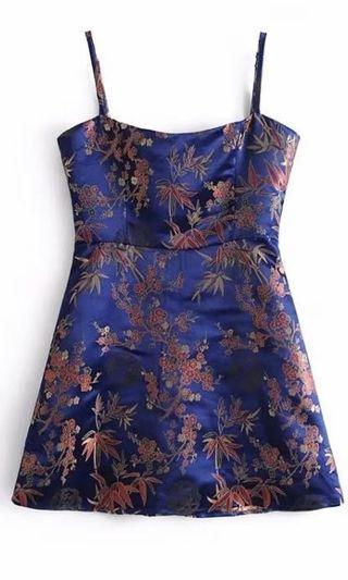 Inspired embroidered party casual silk dress. FREE SHIPPING